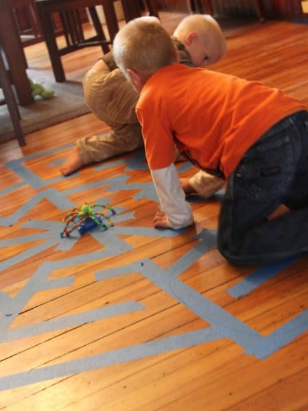 A spider web maze for kids for Halloween