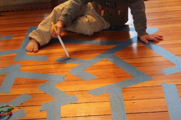 A spider web maze for kids this Halloween