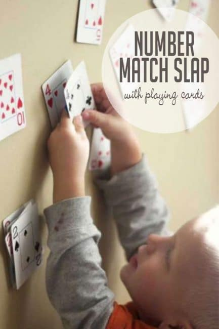 Play number match slap with your preschooler or older toddler to work on early math skills!