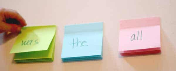 Sight words on post-it notes to match