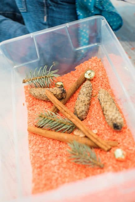 Explore all things fall with a DIY pumpkin scented rice sensory bin!