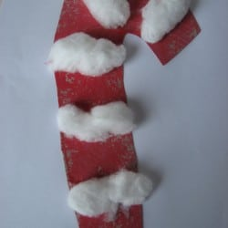 Cotton Ball Candy Cane