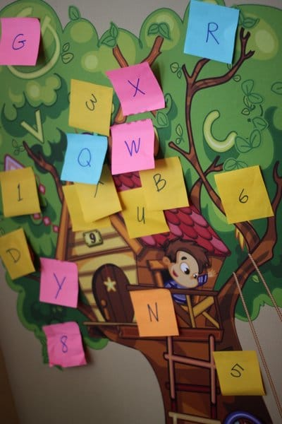 Letter Scavenger Hunt with sticky notes