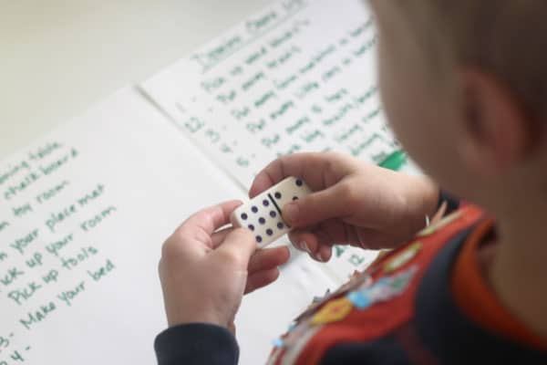 Add up the sum of a Domino to find what to do on the chore list