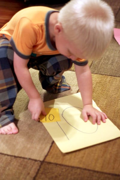 A fun way to get them moving - a number matching game for preschoolers and toddlers.