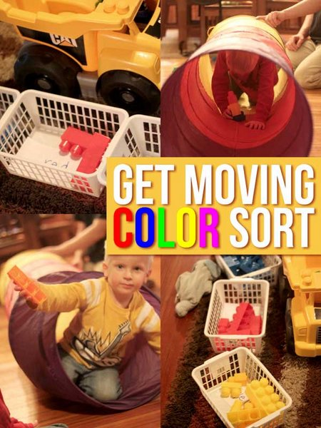 Get moving and sort colors using a play tunnel!