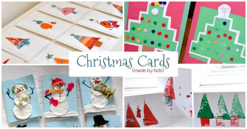 20 Homemade Christmas Cards Made By The Kids Hands On As We Grow