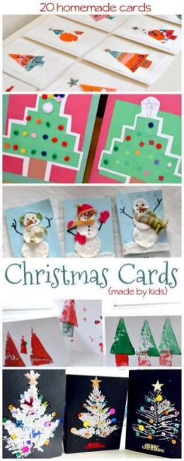 Make a few homemade Christmas cards to give to close family as part of their Christmas gifts. These homemade cards are easy to for young kids to make.