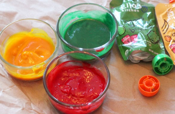 Make homemade edible finger paint with leftover baby food