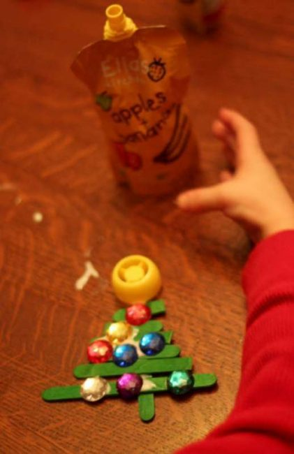 Star added, craft stick Christmas tree complete!