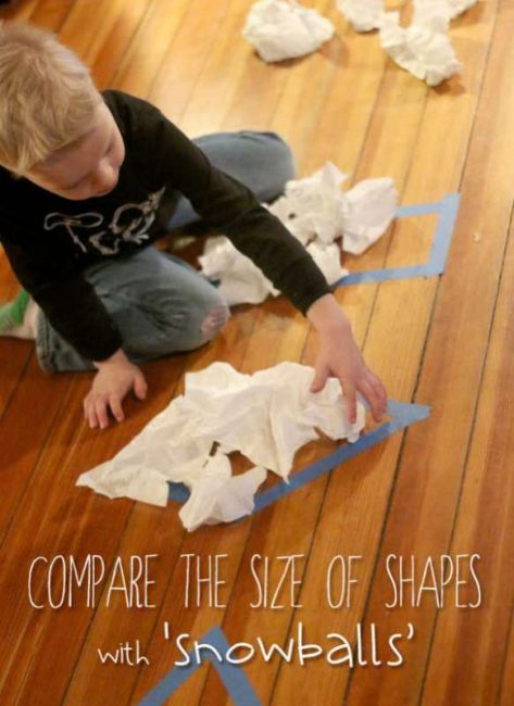 Comparing shapes -- Count and compare the 'snowballs' that fit in a shape to measure the area.