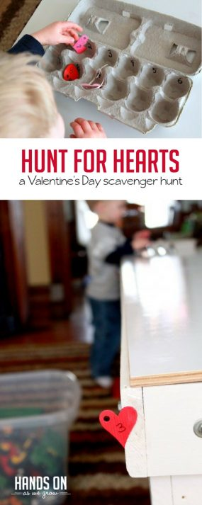 Find hearts and numbers with a fun Valentine's Day scavenger hunt