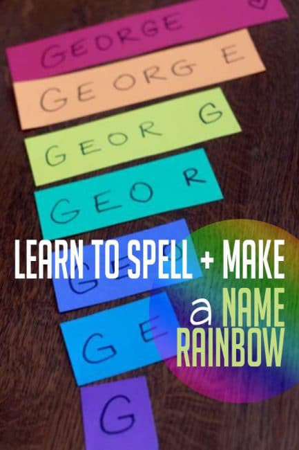 Learn to spell your name and make a rainbow, too! This is a fun springtime learning activity that preschoolers will love!