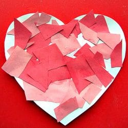 Practice scissor skills with this mosaic heart craft from No Time for Flash Cards