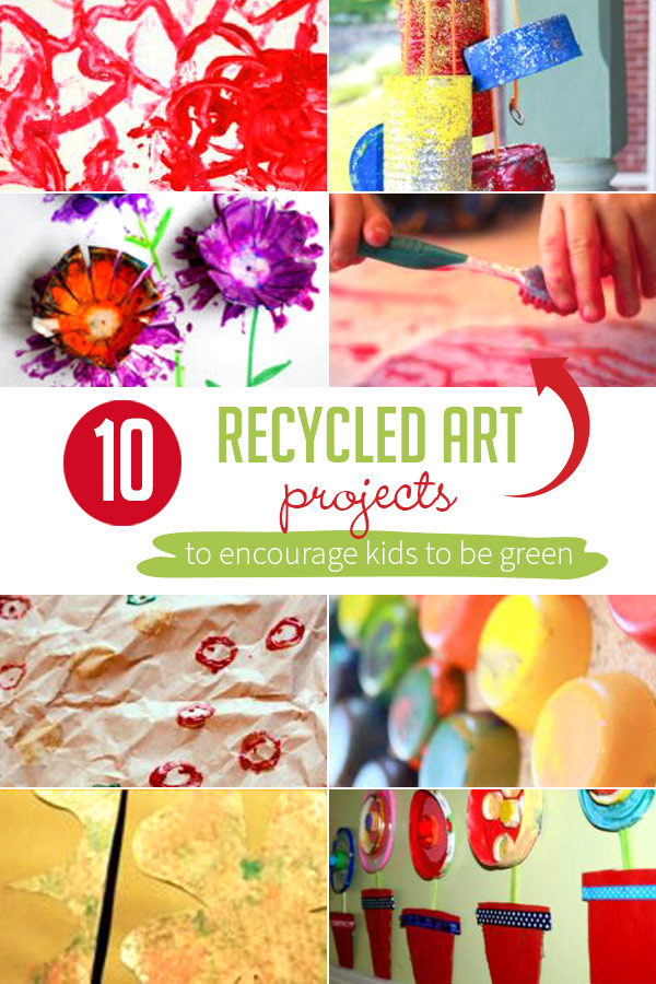 Here are 10 recycled art projects for kids to create! A great way to encourage them to reuse what they already have and give them a taste of being green.