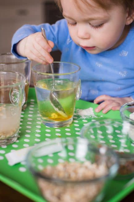 Your preschooler will love discovering what dissolves in water with this fun experiment!