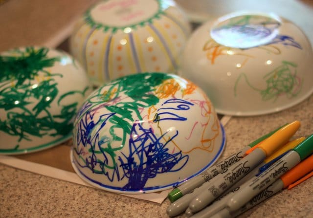 Sharpie Decorated Cereal Bowls