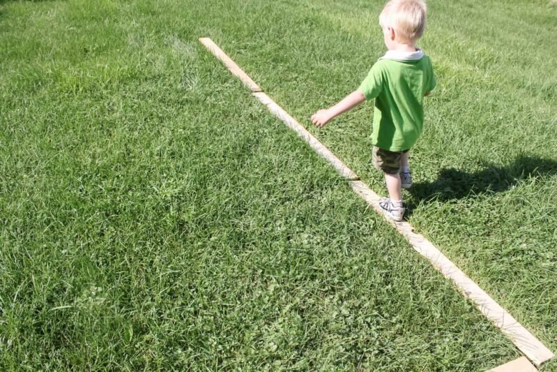 DIY balance beam for toddlers at home.