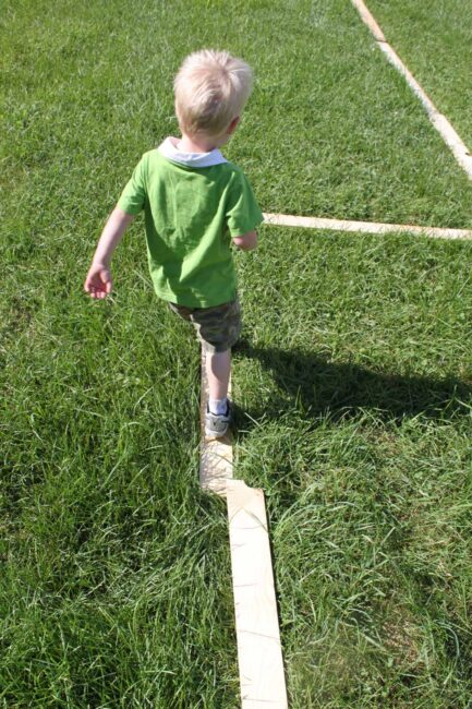 super simple toddler balance beam DIY at home.