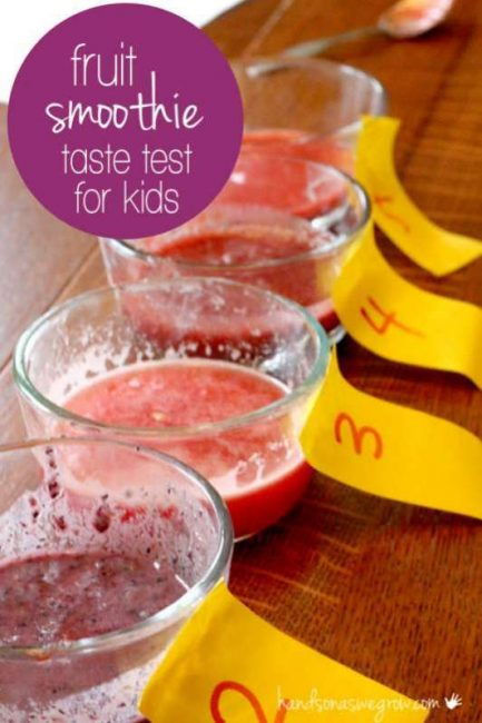 A simple taste test for kids to guess what fruit is in the smoothie