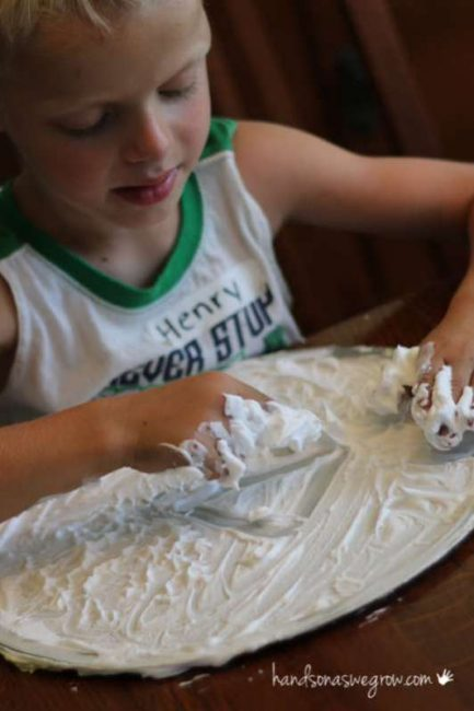Shaving cream activity - drawing shapes