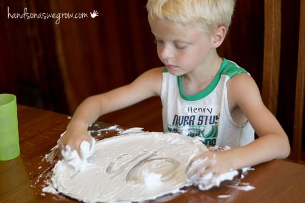 Shaving cream activity to learn sight words