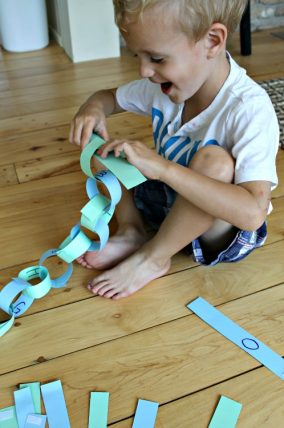 How to make paper chains reusable and use them to learn letters too!