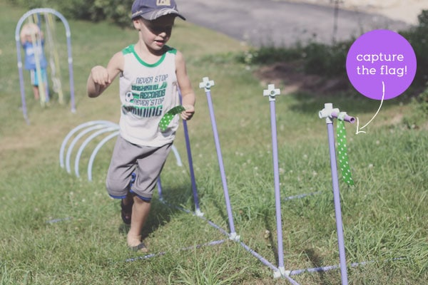Add capturing flags to an obstacle course for kids