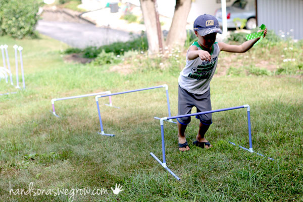 Jump the hurdles - How to build a backyard obstacle course for kids to get moving!