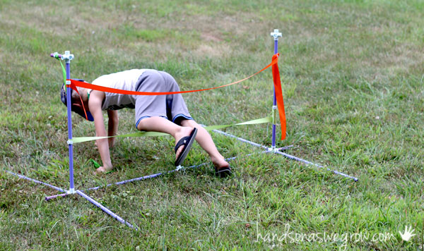 Make your way through the ribbons - obstacle course for kids!
