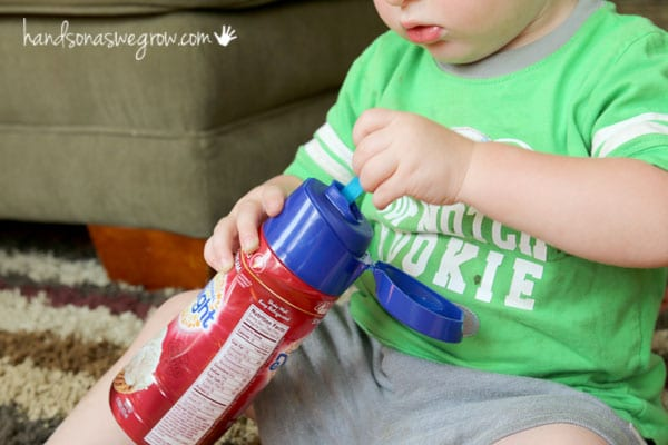 What to do with a plastic bottle? A fine motor activity for toddler to do