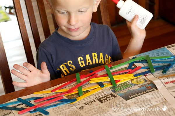 Such a simple crafts sticks art project for kids to make. It's a true DIY project for kids to make anything they want with craft sticks.