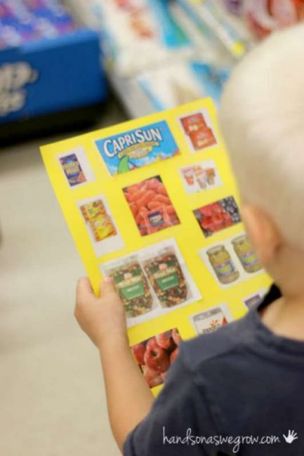 A grocery store scavenger hunt using visual pictures for non-readers
