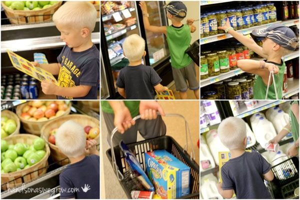 Go on a snack scavenger hunt in the grocery store using pictures instead of words for toddlers and preschoolers.