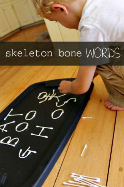 Make a Halloween alphabet with 'skeleton bones'