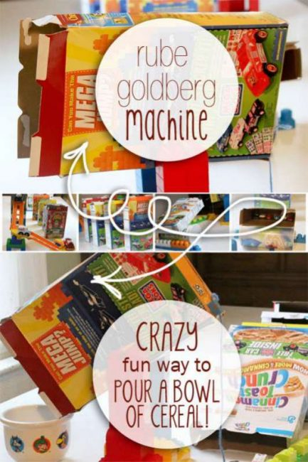 Make a Rube Goldberg Machine to pour a bowl of cereal!