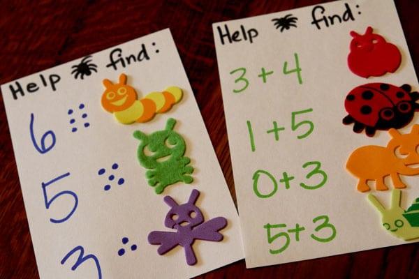 Bug cards for spider web Halloween scavenger hunt