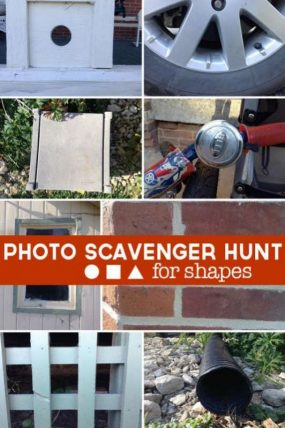 A photo scavenger hunt to find common shapes around the house