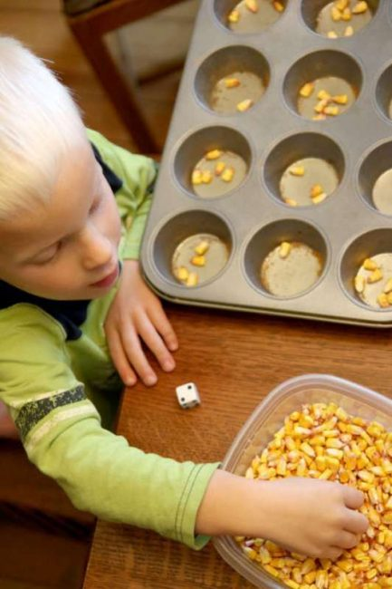 Counting corn kernels to practice one to one correspondence