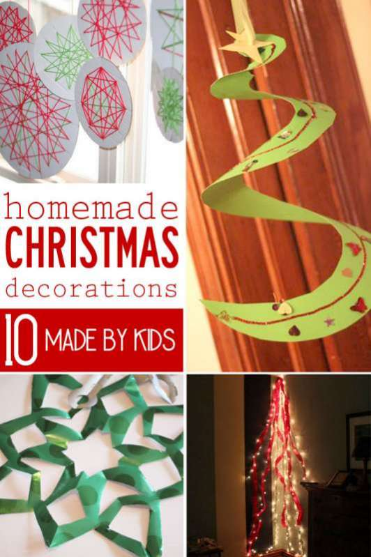 Homemade Christmas decorations made by the kids