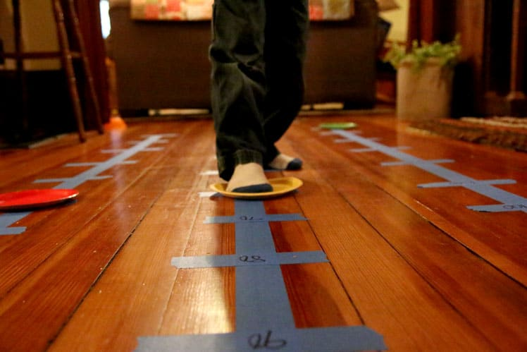 Moving plates as place values for a number line activity