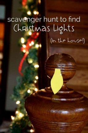 Christmas light scavenger hunt to make a string of lights!