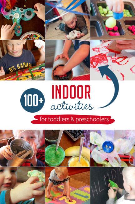 Here is your go-to list of simple indoor activities for toddlers and preschoolers for rainy days and cold days when you're stuck indoors.