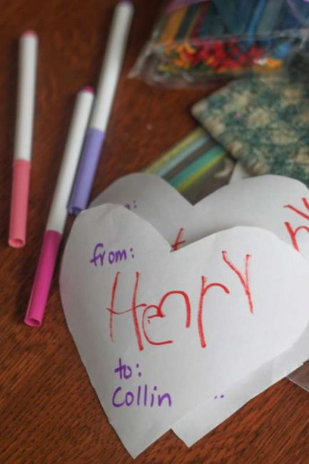 Writing names for stuffed heart Valentines