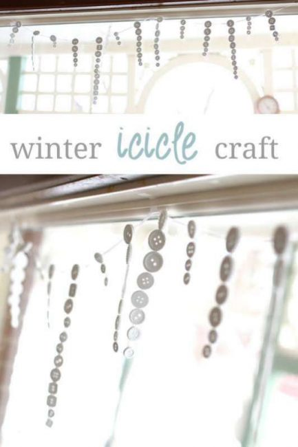 DIY a button icicle garland for a cute winter craft for kids to make!