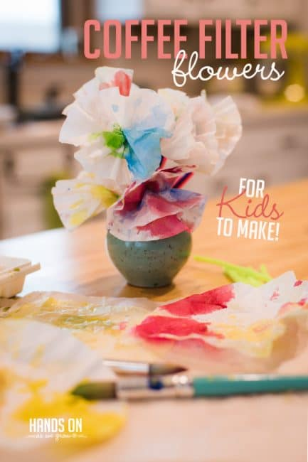 Make beautiful coffee filter flowers for your kids to gift on Mother's Day