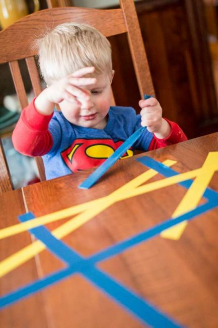Peel tape off the table (fine motor skills!)