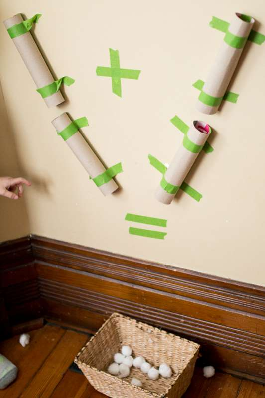 A visual addition activity using a pom pom drop - more common core activities for kindergarten