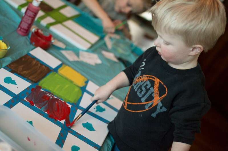 Making canvas art with kids