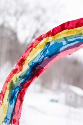 Make a rainbow suncatcher with just the 3 primary colors
